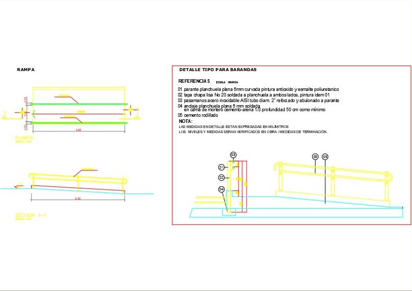 Rampa de acceso con detalle del pasamano