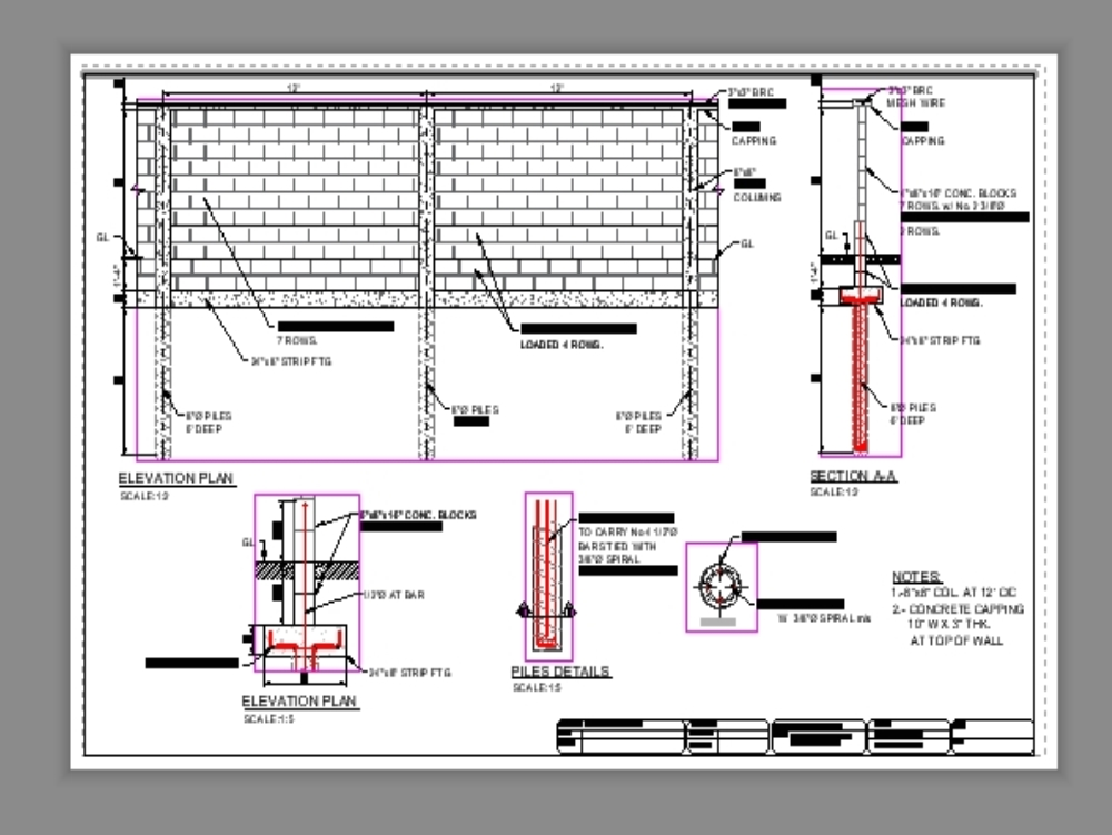 Details of construction of a fence wall