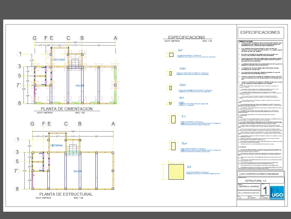 Foundation-structural plan in a three-story building.