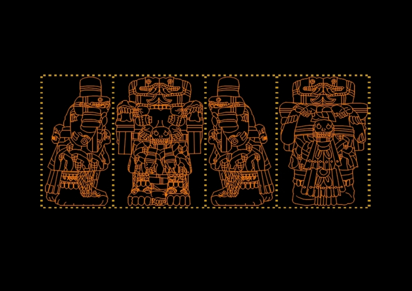 Aztec goddess coatlicue (2d) autocad.