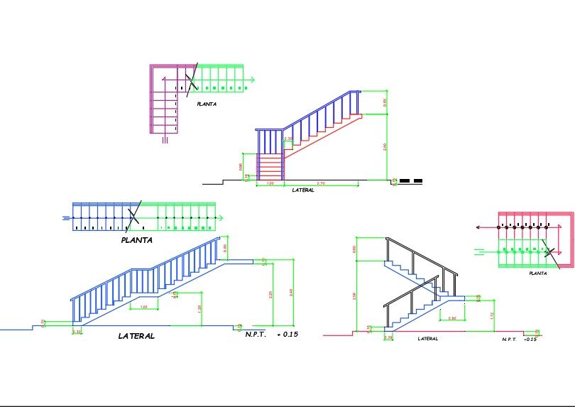Tipos de escalera con vistas diferentes