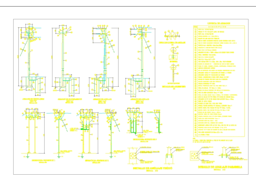 Estructuras de tipos de armado de postes de 10kv