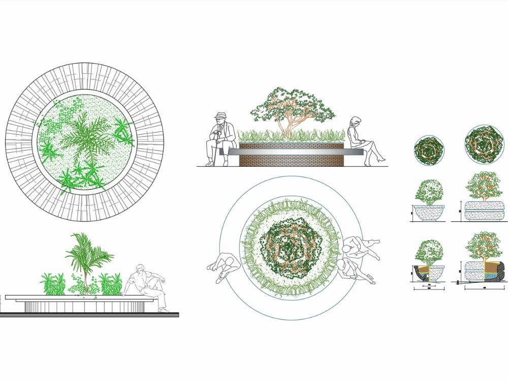 Jardineria circular con macetas de concreto