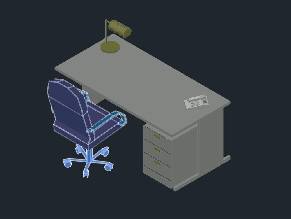 Escritorio 3d para equipamiento de mueblería en oficinas