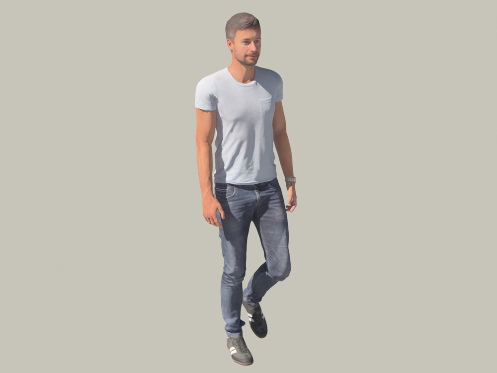 Young man walking 3d