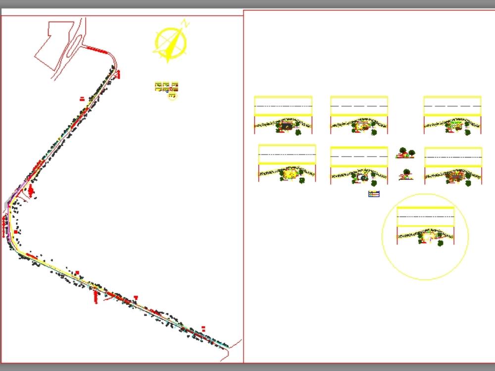 Simbolos de ciclovia y  del pavimento principal
