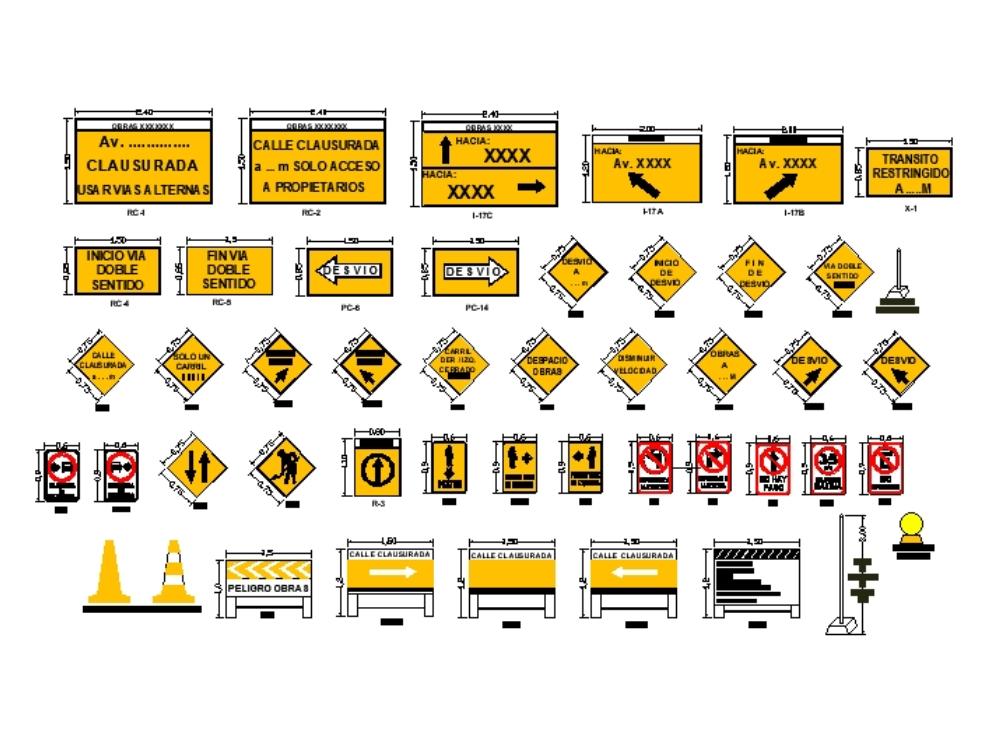 Carteles de señalización de desvío