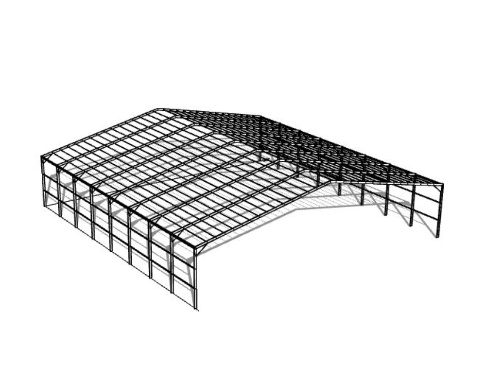 Industrial warehouse or metal shed in 3d