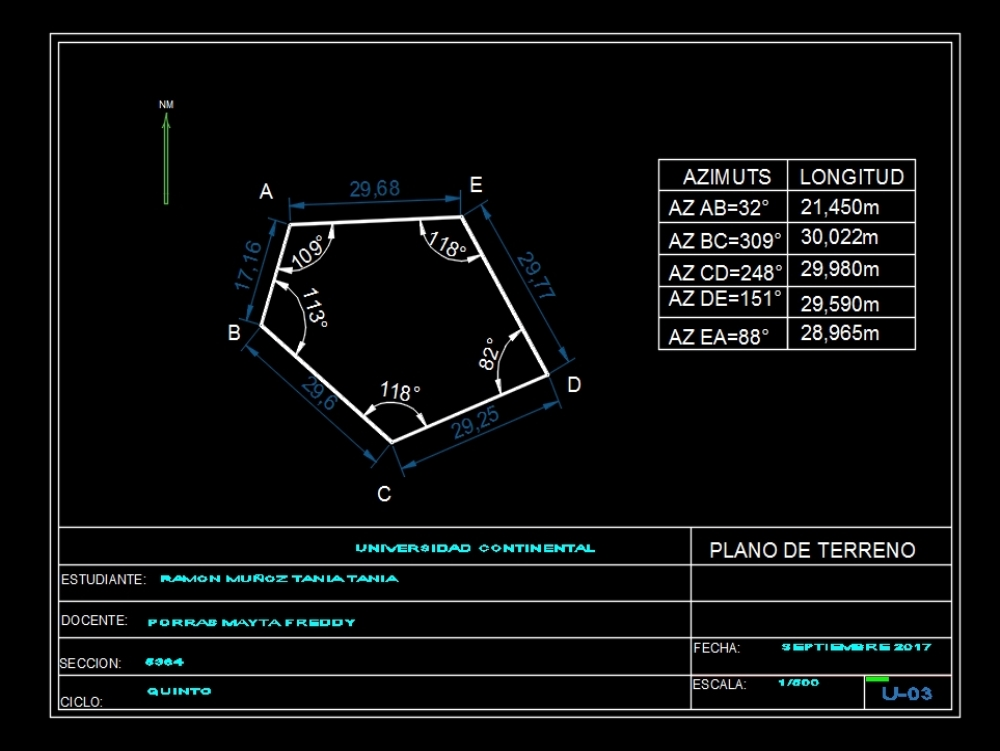 Azimuth design in autocad; according to indications