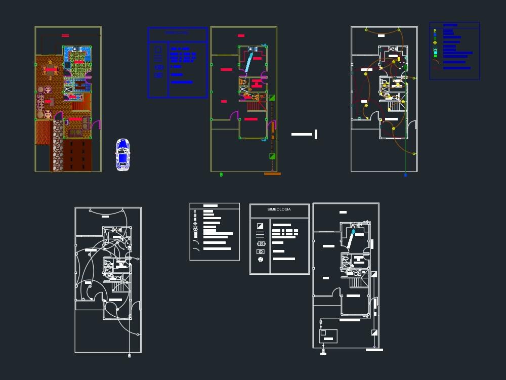 Planos eléctricos; sanitarios de una vivienda unifamiliar