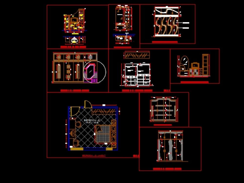 Plano detallado de edificios y mobiliario