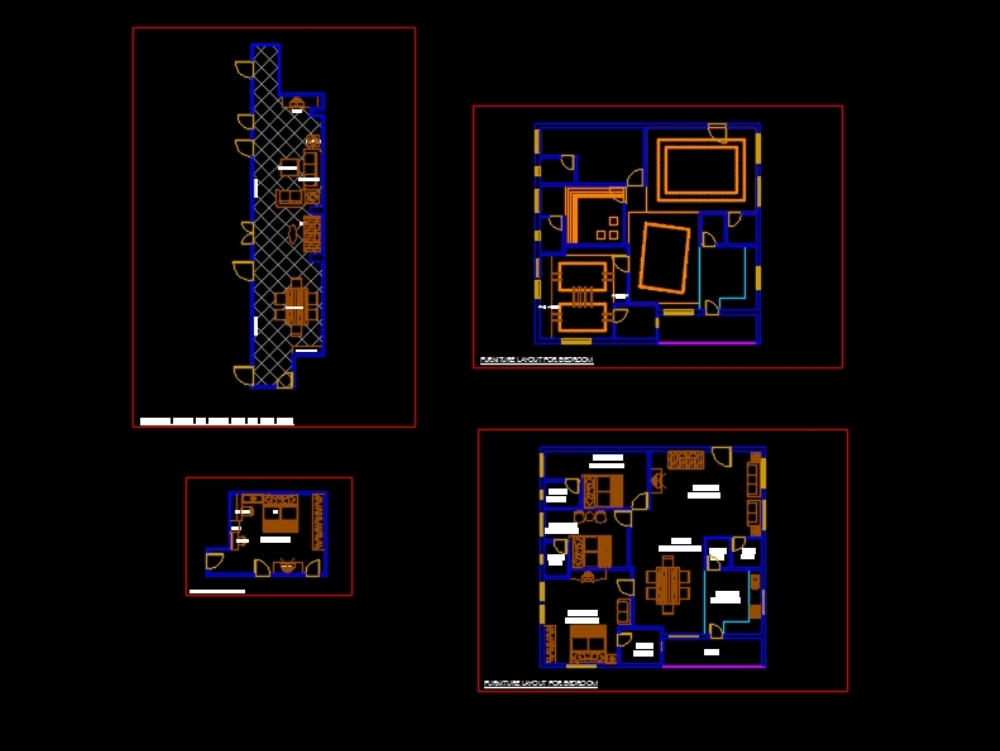 Plan of office with detailed furniture