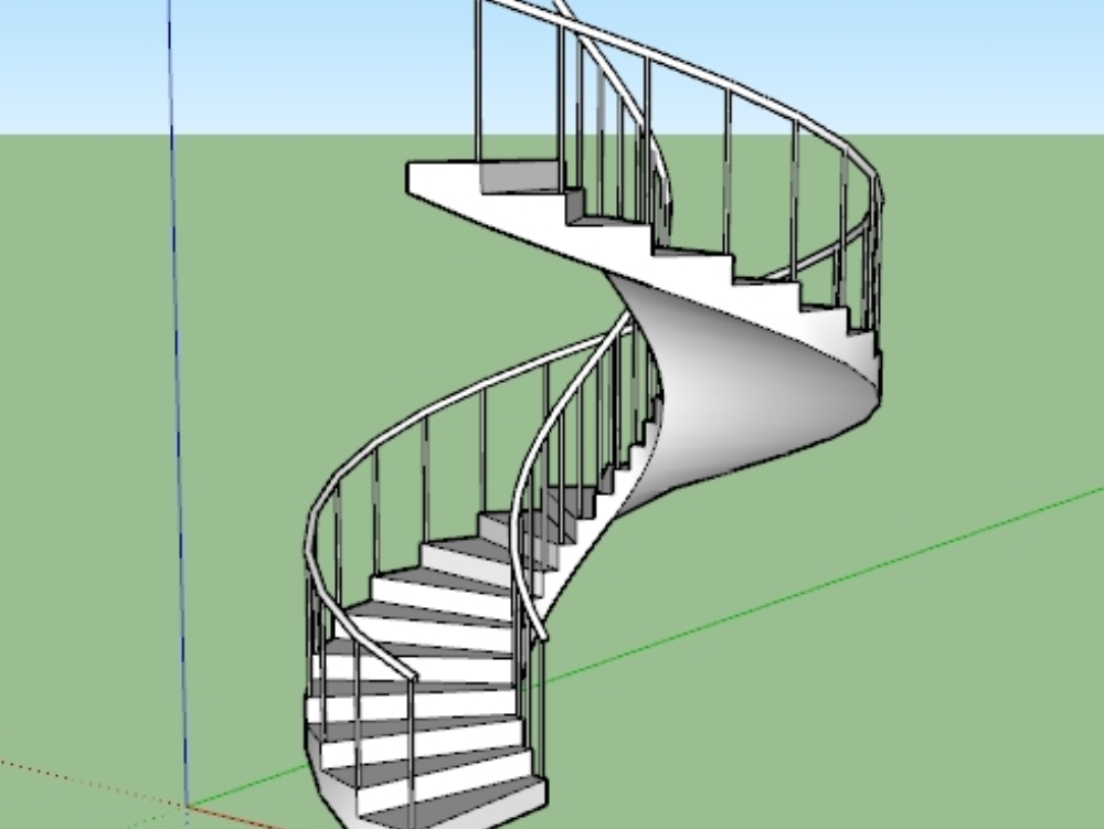 Spiral staircase in 3d sketchup.