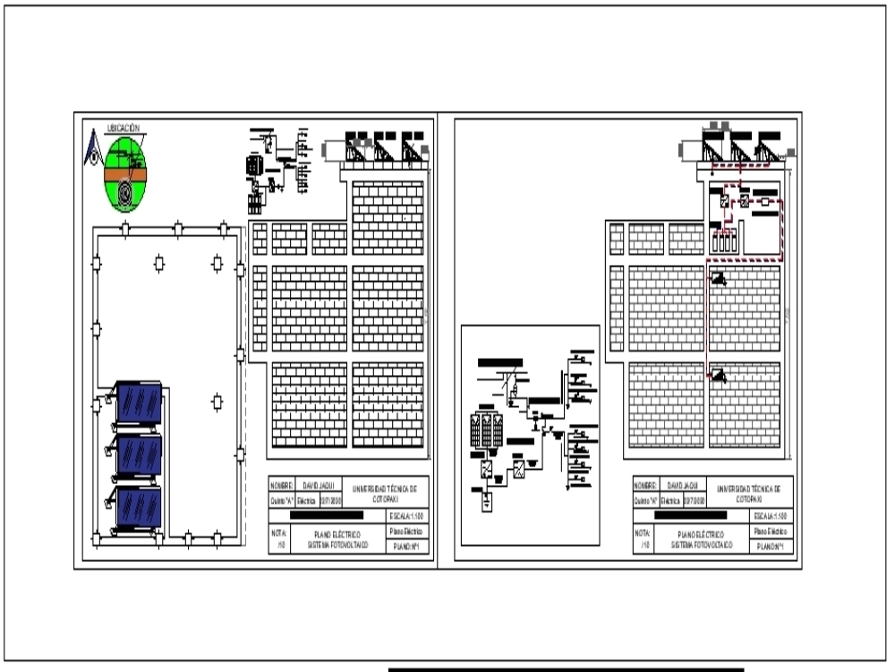 Electrical plan photovoltaic system in home