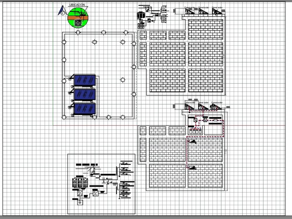 Plano eléctrico sistema fotovoltaico en vivienda