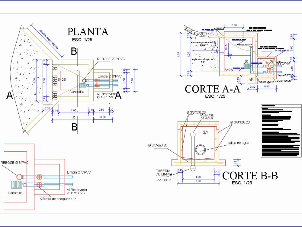 Plano de captación agua arquitectura y estructura