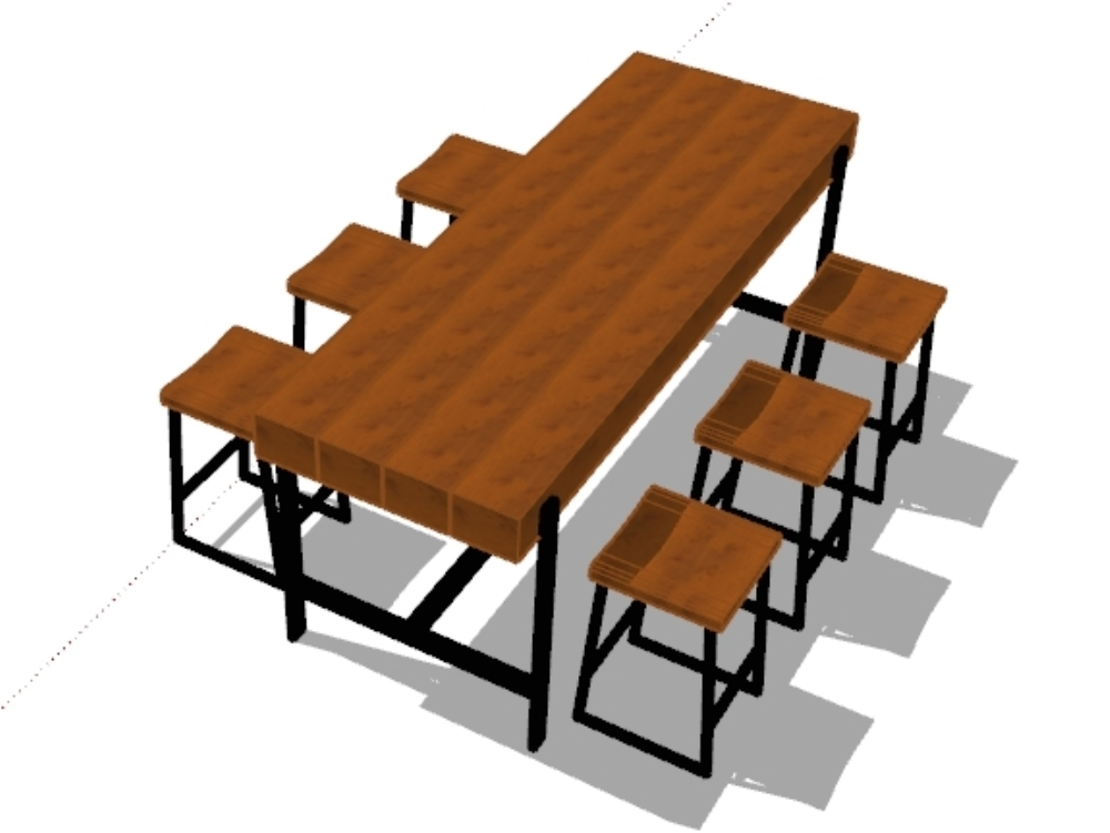 3d model of wood and iron dining table