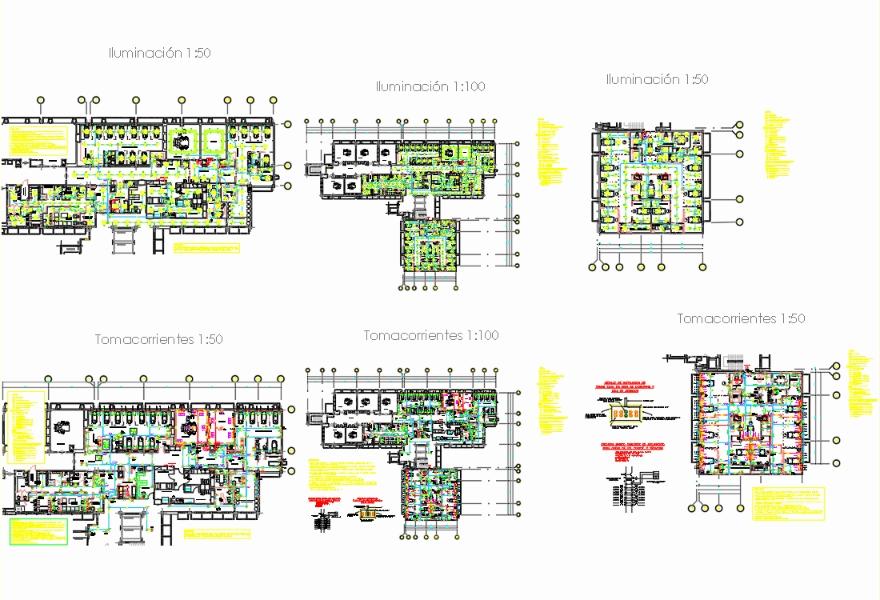 Proyecto eléctrico del hospital con todos los detalles es el dibujo
