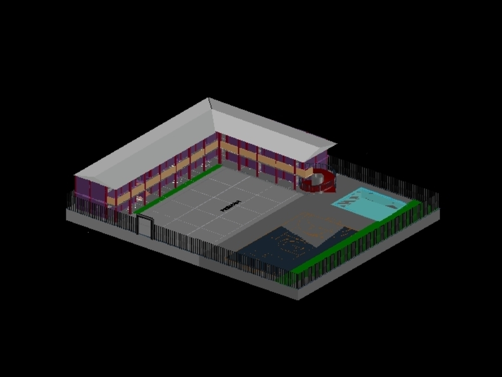 Elementary school made in autocad 3d modelig