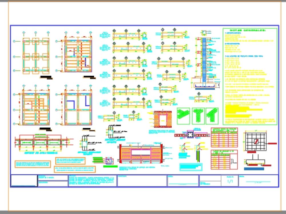 Plano estructural sismoresistente vivienda 3 niveles