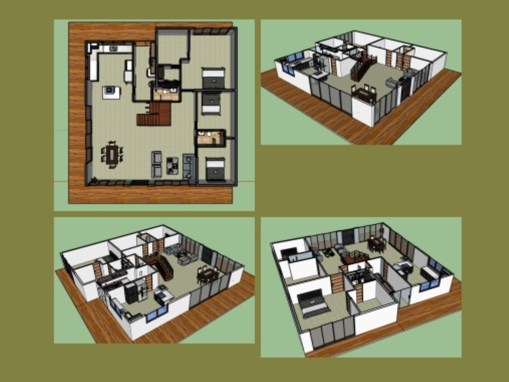 3d farm house with furniture and finishes