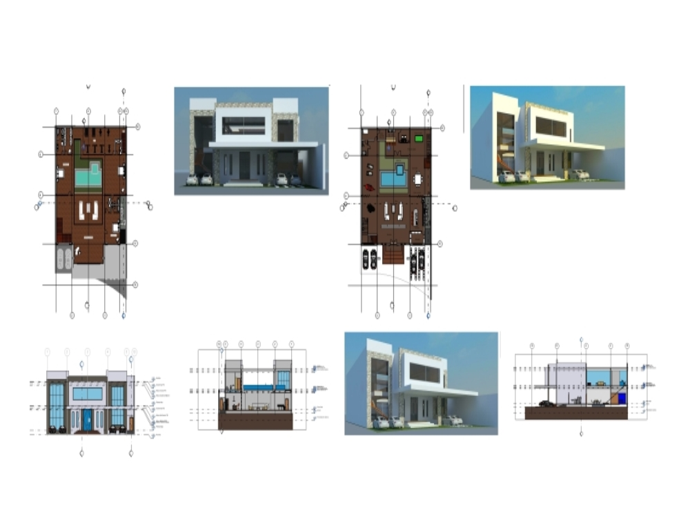 Architectural project of a single-family house revit