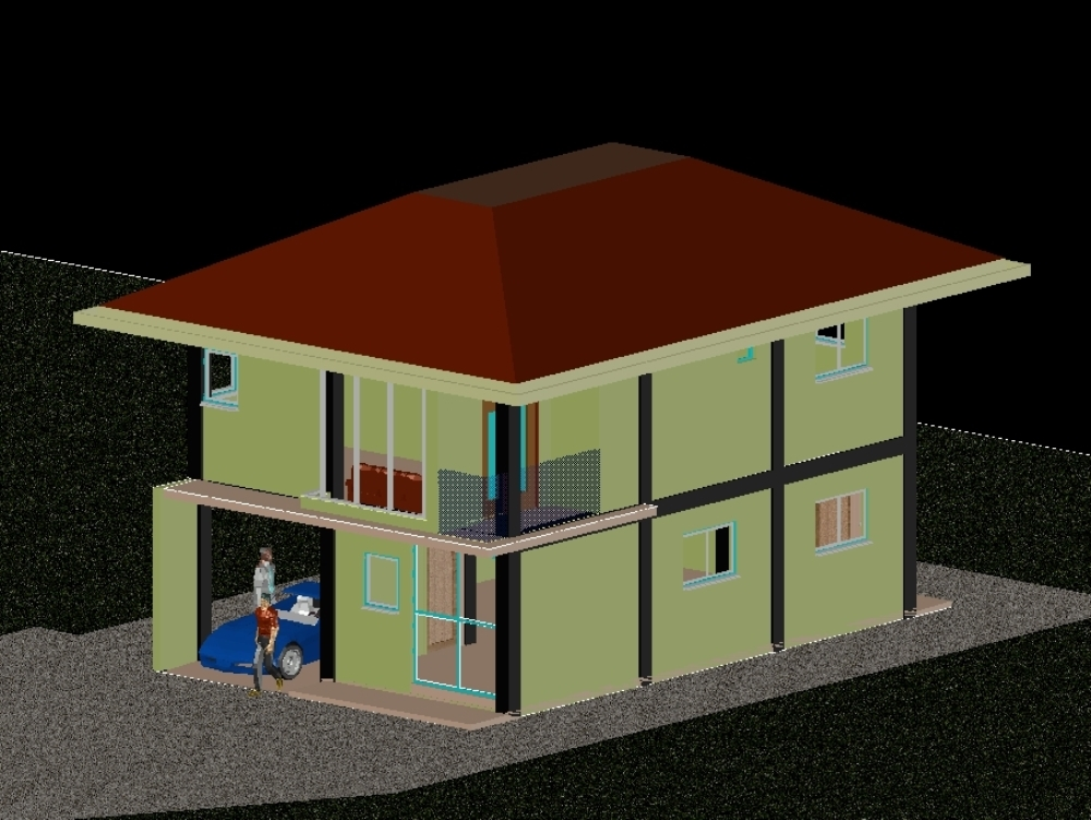 3d two storey residential house