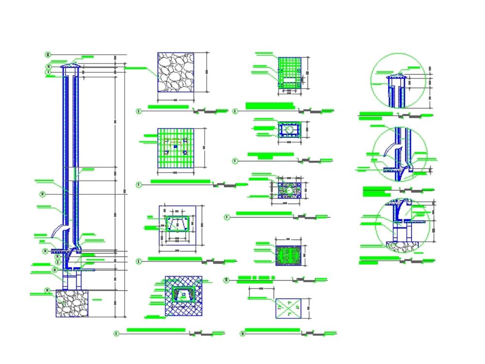 Plano completo de chimenea y detalles constructivos