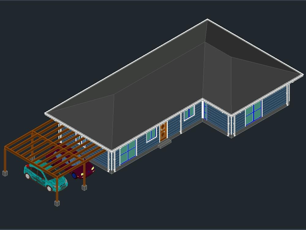 3d casa clasica de 1 piso con 2 baños y walking closet