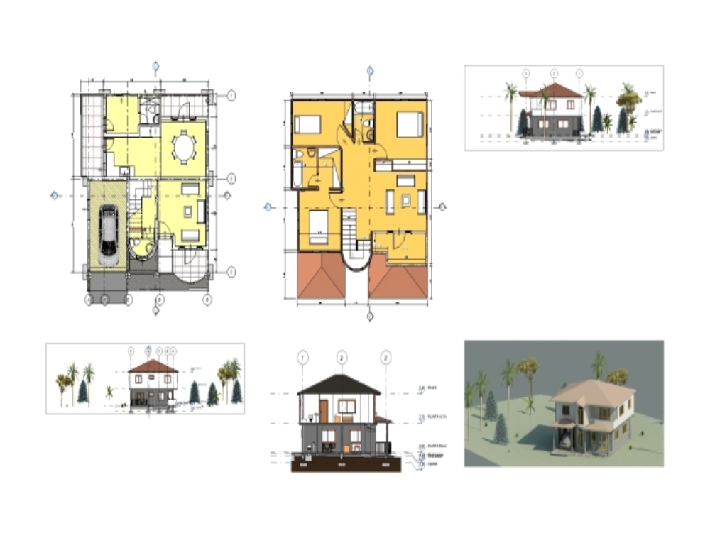 Country house- colonial model revit