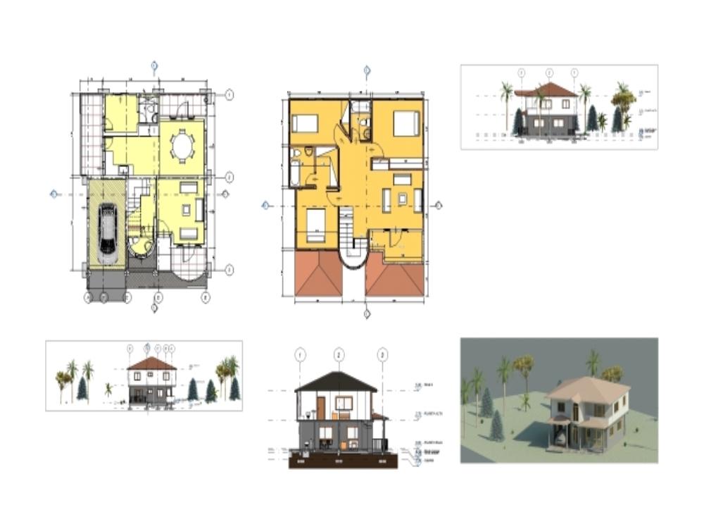 Casa campeste- modelo colonial revit