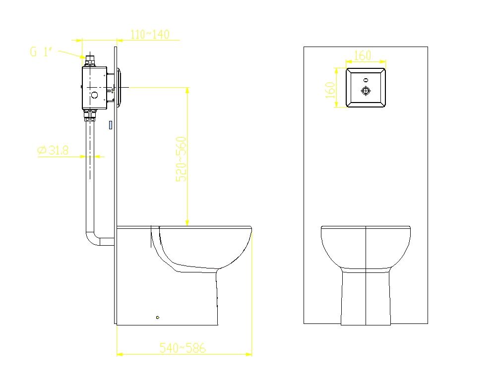 Inodoro estándar americano con sensor de descarga automática