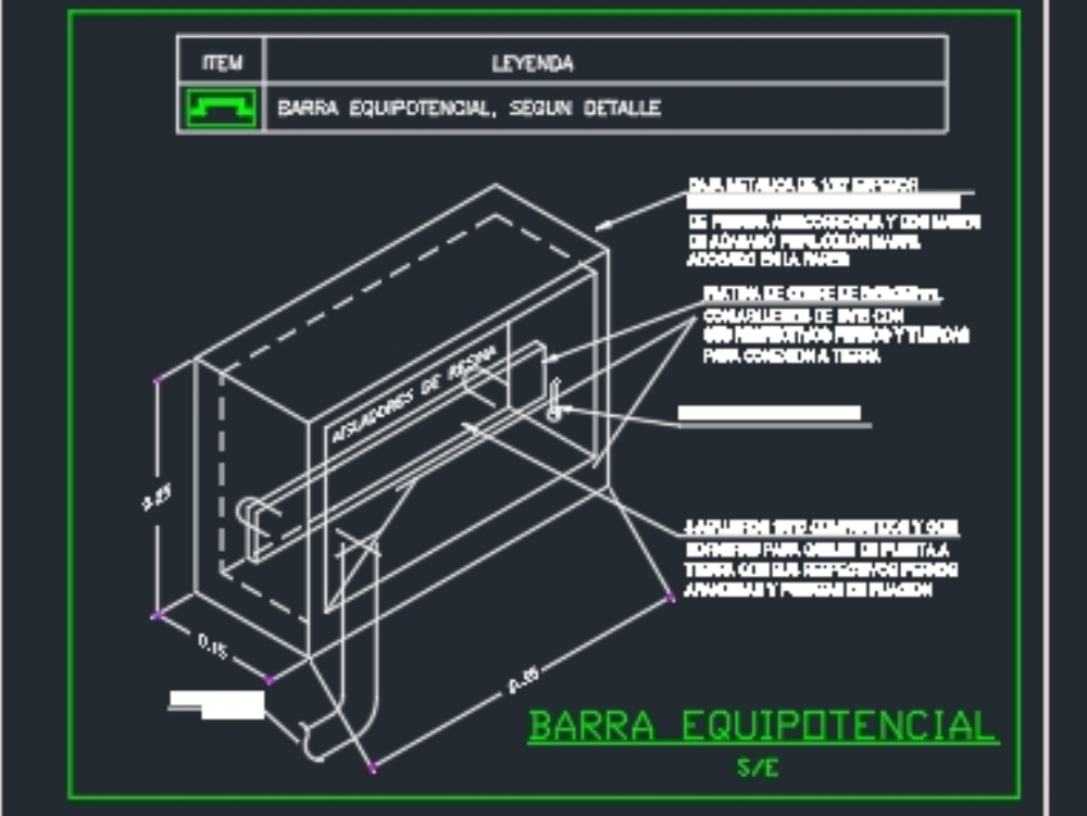 Detail of equipotential box for electrical installations