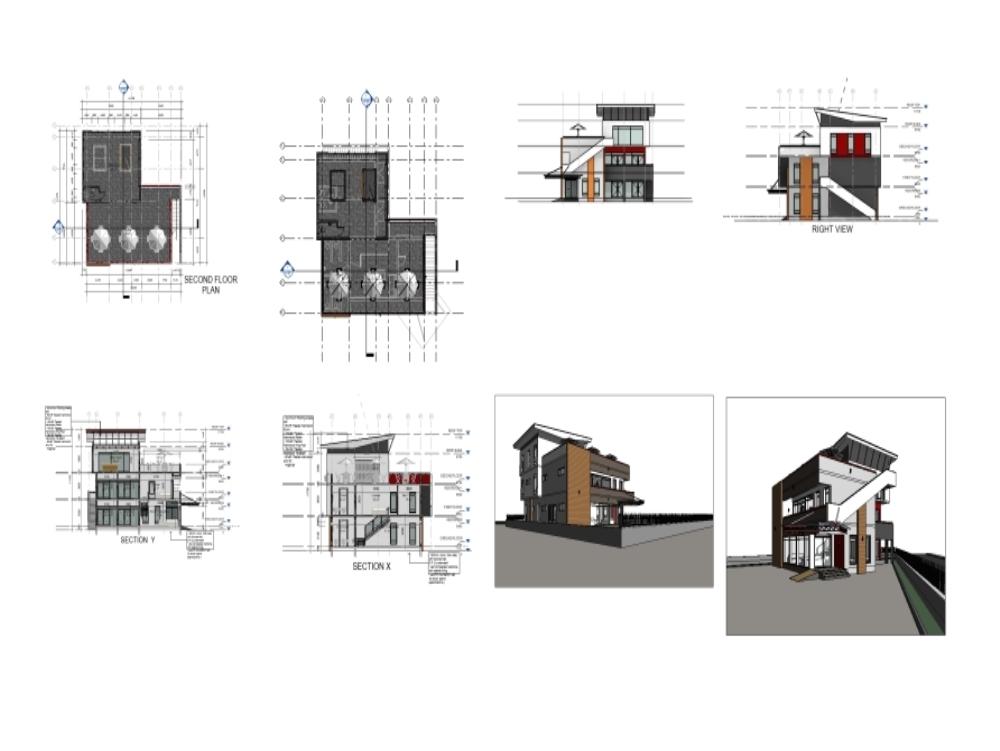 Mini edificio comercial modelo 3d
