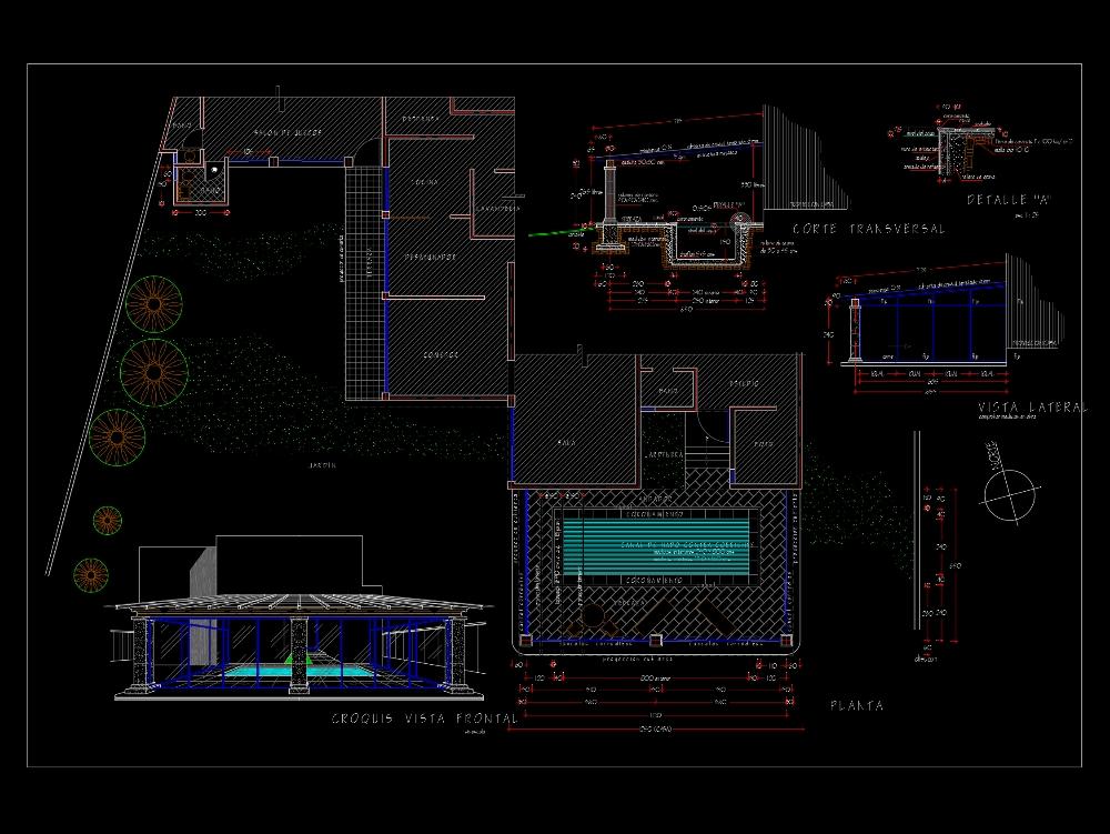 Plano arquitectónico de una piscina