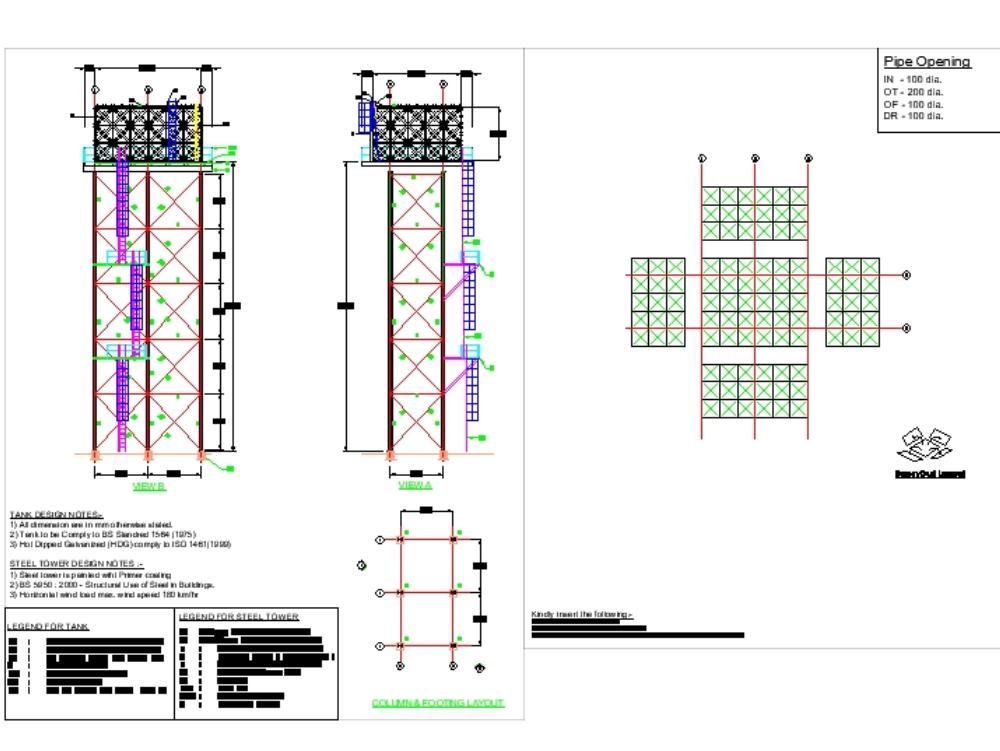 7.32mx 6.1mx 3.66m (h) en torre de agua de acero de 20m