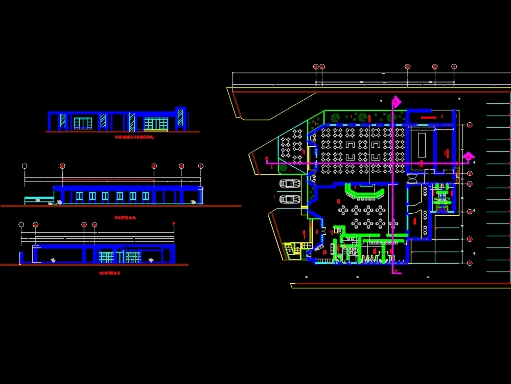 Architectural plan of a restaurant