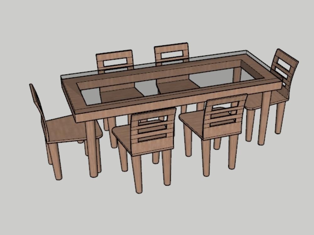 Juego de mesa de comedor y seis sillas archivo 3d