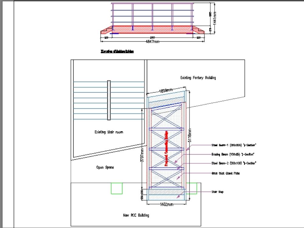 Puente de conexión de estructura de acero