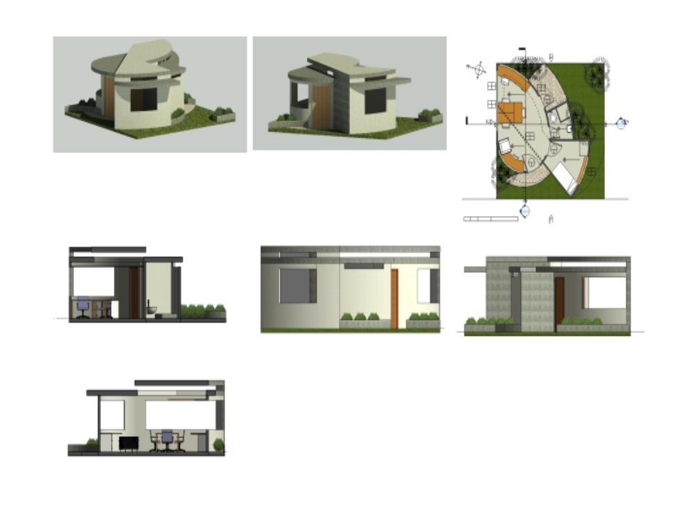 Casa curva pequeña de 64m2