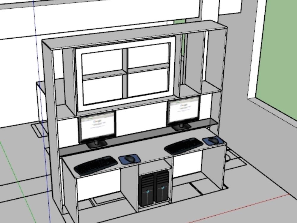 Mueble tv separador de ambientes en oficina