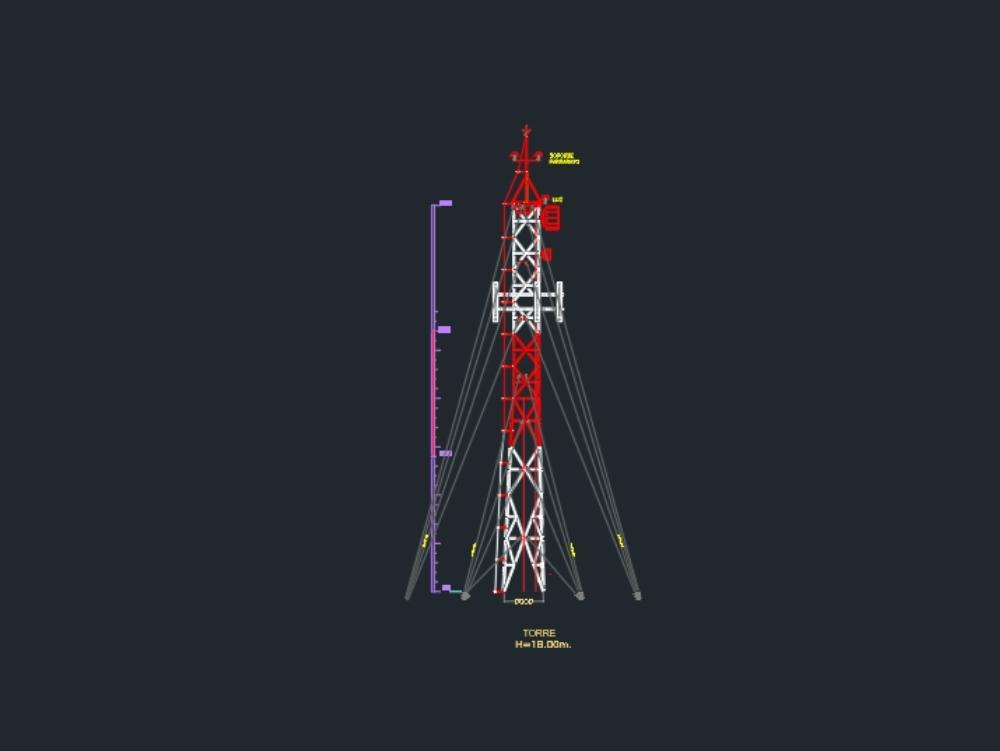 Braced tower 18 meters high