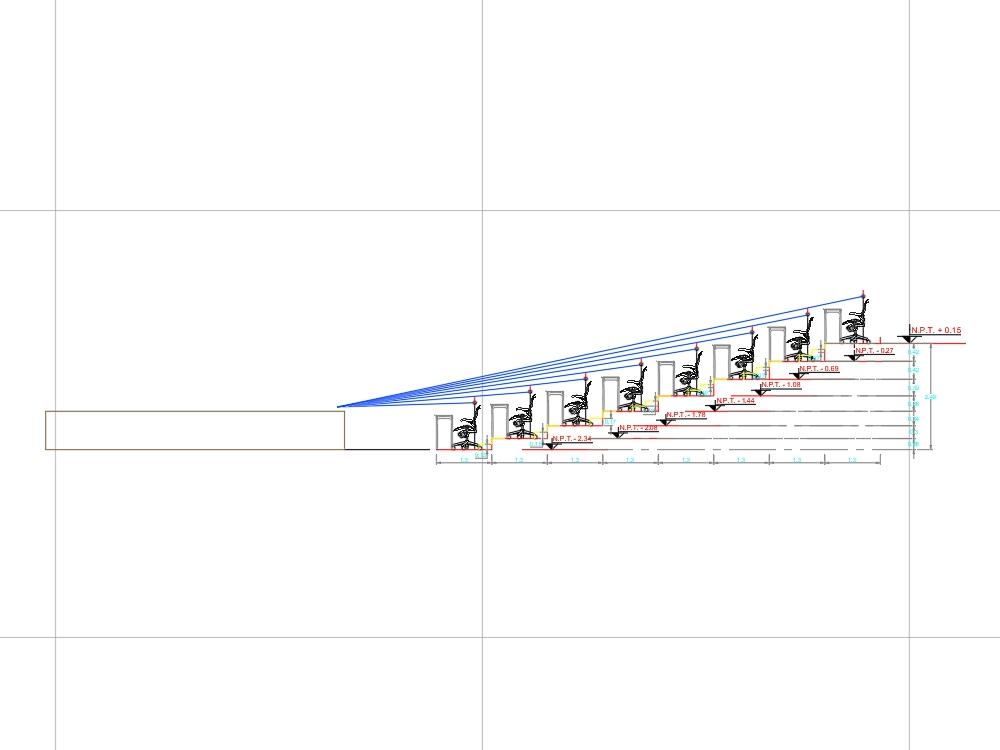 Plano acustica y proyecciones de paneles