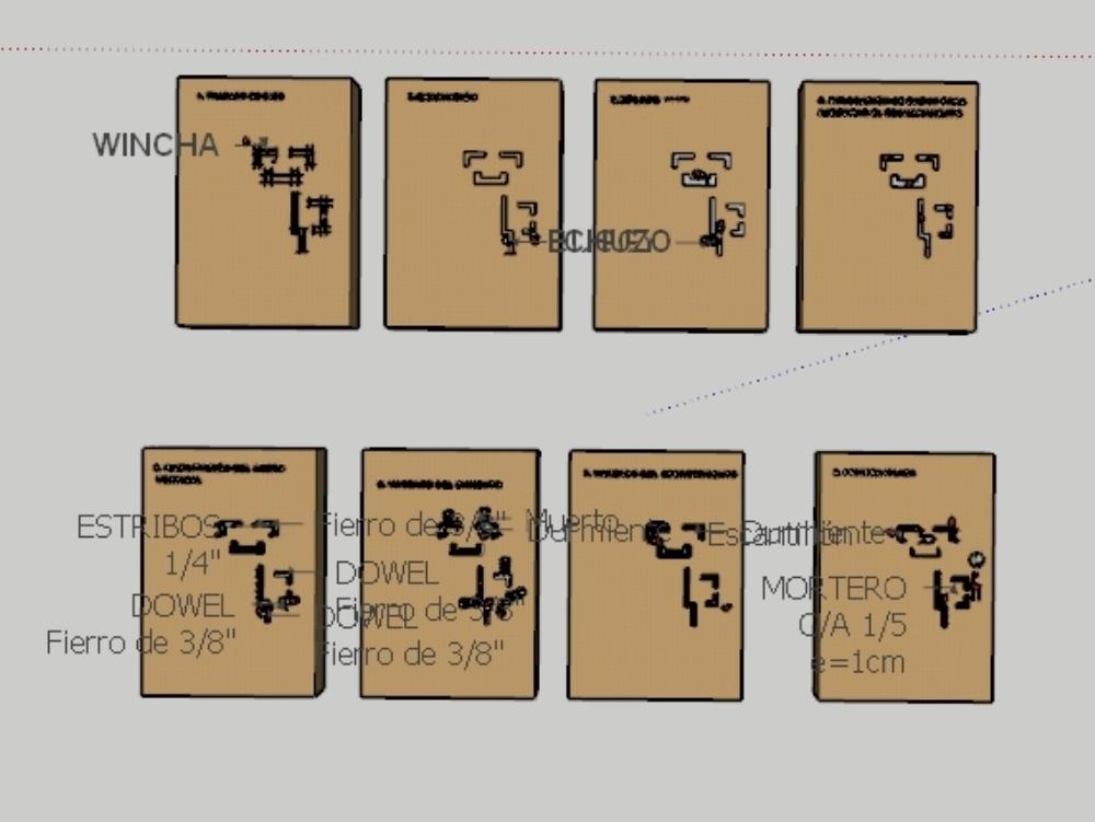Construction process of masonry in skp