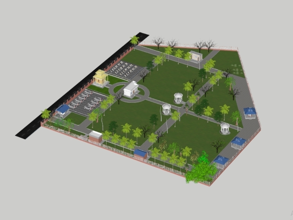 3d of crematorium_with houses and landscaping