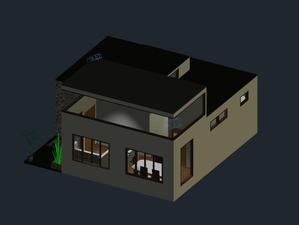 Small house 3d cad 8x8 autocad