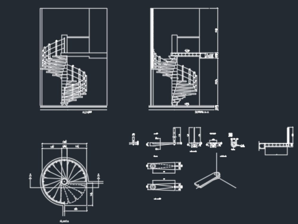 Metallic spiral staircase in autocad