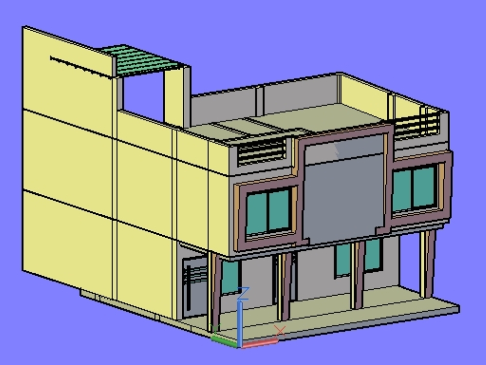 Perspective of small house garage and viewing terrace