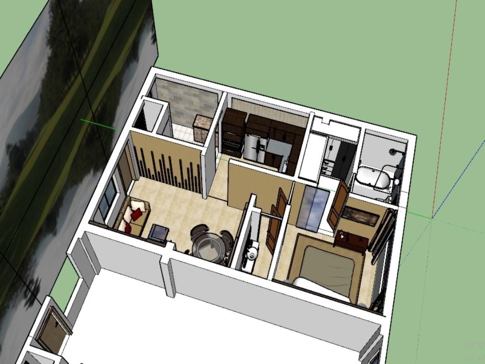 Diseño de interiores de vivienda flat