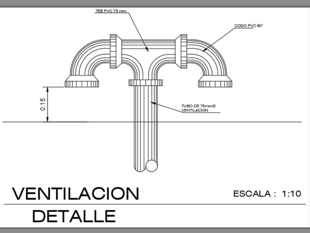 Ventilación tubería en pvc en75 mm diámetro
